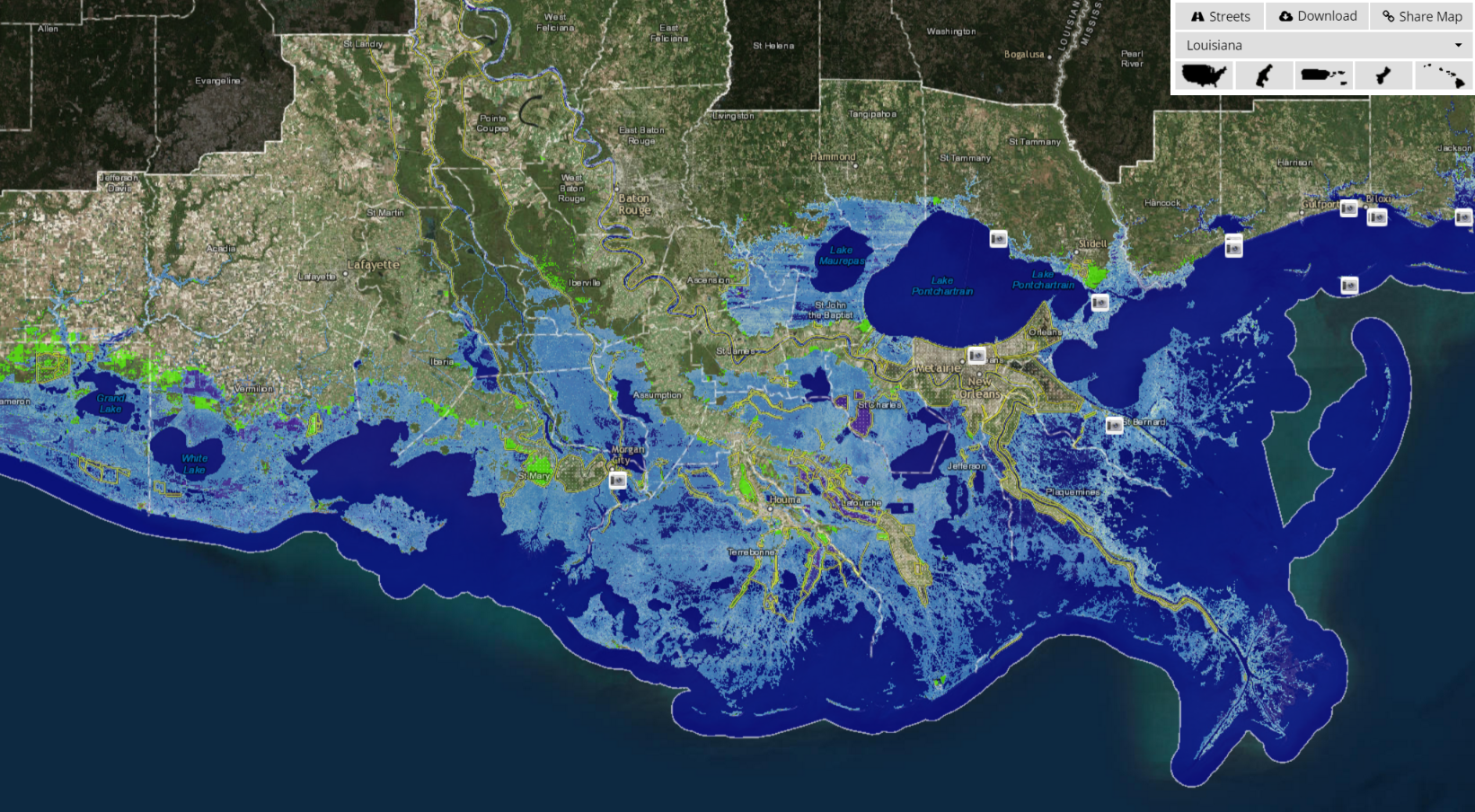 Why the Master Plan will not protect Louisiana and what we should do  Foot Sea Level Rise Map on