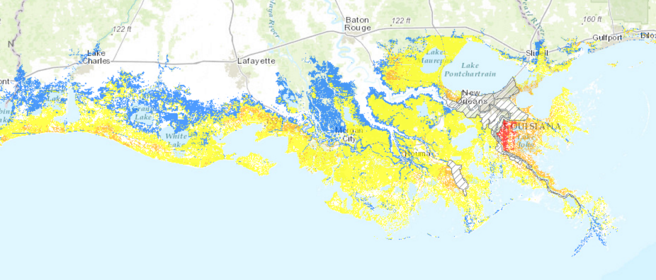 Map of Louisiana showing that a medium size hurricane would put 3 feet of surge over most of Louisiana south of I 10.