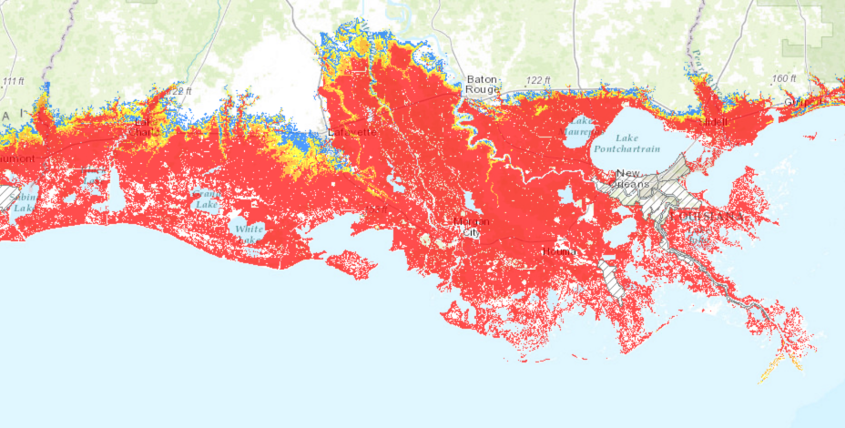 Map of Louisiana showing that a large size hurricane would put 9 feet of surge over most of Louisiana south of I 10.