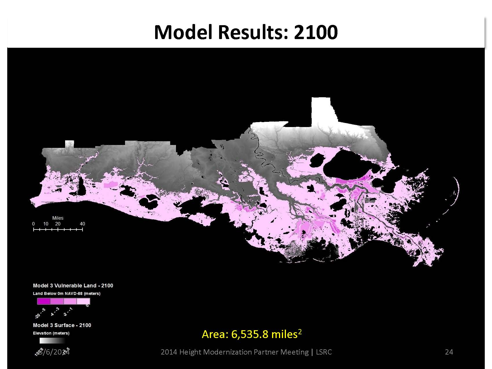 Topographic map of southern Louisiana showing that more than half of Southern Louisiana below I 10 will be below sea level by 2100.
