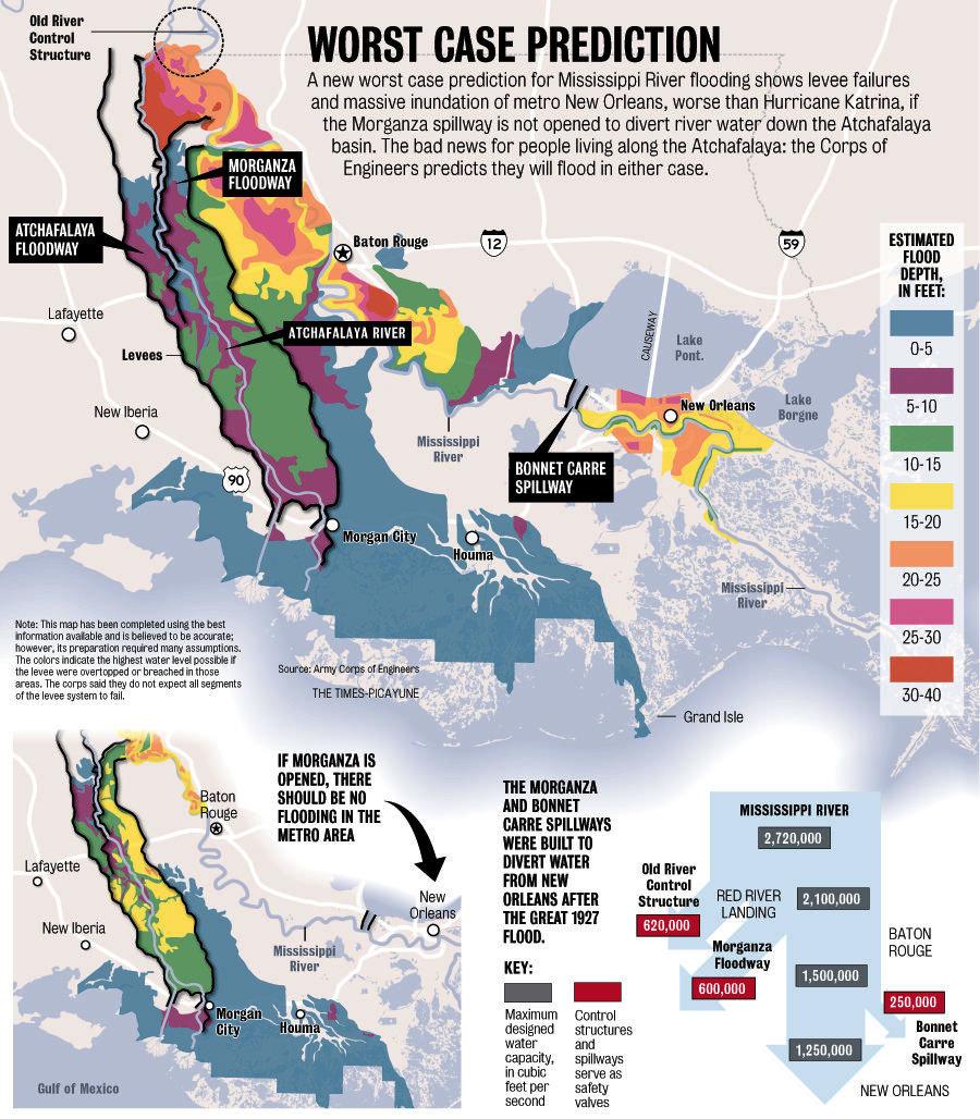 Climate Change And Coastal Adaptation Project - Louisiana sea level map